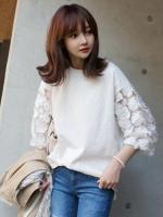 เสื้อยืดแฟชั่นสีขาว คอกลมแต่งแขนผ้าตาข่ายปักลายดอกไม้-1423