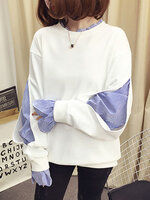 เสื้อแฟชั่นคอกลมดีไซน์เก่แหวกโชว์แขนยาวซ่อนอีกชั้นด้านในลายริ้ว-1717-สีขาว
