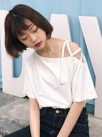 เสื้อครอปแฟชั่นดีไซน์เก๋ แต่งสายคาดไขว้แนวสาวเท่ห์ปนเซ็กซี่สไตล์เกาหลี-1600-สีขาว