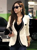 เสื้อสูทแฟชั่นผู้หญิงสีขาว ใส่ทำงานสไตล์เรียบหรูไม่มีปก-1630-สีขาว