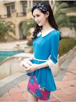 ชุดเดรสแฟชั่นเสื้อต่อกระโปรงลายดอก - สีฟ้า