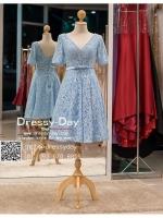 รหัส ชุดราตรี :PFS016 ชุดแซกผ้าลูกไม้งานสวย ชุดราตรีสั้นหรูสีฟ้ามาพร้อมเข็มขัด สวย สง่า ดูดีแบบเจ้าหญิง ใส่ไปงานแต่งงาน งานกาล่าดินเนอร์ งานเลี้ยง งานพรอม งานรับกระบี่