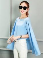 เสื้อแฟชั่นแขนกุดแต่งผ้าคลุมไหล่พริ้วสวย-1359-สีฟ้า