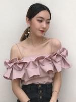 เสื้อสายเดี่ยวแฟชั่นแต่งเก๋ระบายพับจีบรอบ สวยหวานสไตล์เกาหลี-1688-สีชมพู
