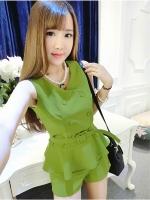 ชุดเซ็ท เสื้อแขนกุดกางเกง สีเขียว