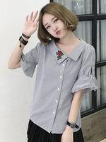 เสื้อแฟชั่นคอปกเฉียงแขนผูกโบว์ปักดอกกุหลาบสีแดงสุดน่ารักสไตล์เกาหลี-1626-สีดำ