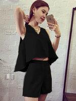 ชุดเซทเสื้อ กางเกงแฟชั่น สไตล์สวยหรู - 1670-สีดำ