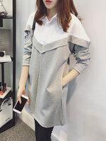 เสื้อแฟชั่นผู้หญิงแขนยาว แต่งคอปกสไตล์เกาหลี-1592-สีเทา