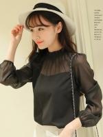เสื้อแฟชั่นคอพับจีบ แขนยาวแขนซีทรู ใส่ทำงานสวยหรูสไตล์เกาหลี-1564-สีดำ
