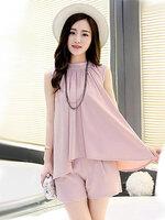 ชุดเซทเสื้อแฟชั่นคอกลมแขนกุดกางเกงขาสั้น สไตล์เรียบหรู-1656-สีชมพู