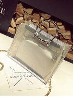 กระเป๋าแฟชั่นทรงเหลี่ยมสวยหรูสไตล์เกาหลี-B025-สีเงิน