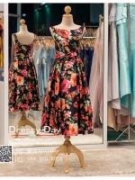 รหัส ชุดราตรี : JE004 ชุดแซกสไตล์วินเทจ ชุดราตรีสั้นหรูลายดอกไม้สีส้ม ชมพู สวยสง่าดูดีแบบเจ้าหญิง ใส่เป็นชุดไปงานแต่งงาน งานกาล่าดินเนอร์ งานเลี้ยง งานพรอม งานรับกระบี่