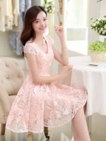 ชุดเดรสผ้าลูกไม้ใส่ออกงานสวยหรูจ้า-1250-สีชมพูโอลโรส