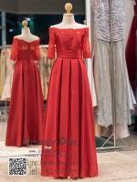 รหัส ชุดราตรี : PF161 ชุดราตรียาว สีไวน์แดง ชุดราตรีแบบมีแขน เปิดไหล่ โอบไหล่ ผ้าไหมอิตาลี่ สวยแบบเจ้าหญิง ใส่ออกงาน ไปงานแต่งงาน งานเลี้ยง งานประกวด งานรับรางวัล งานกาล่าดินเนอร์ งานพรอม งานบายเนียร์ งานเดินพรหมแดง เรียบหรูดูดีมากๆ