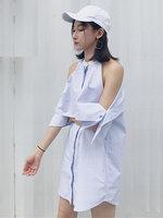ชุดเดรสแฟชั่นผ้าเชิ๊ตคอกลม แต่งเก๋โชว์ไหล่สวยๆสไตล์เกาหลี-1654