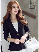 เสื้อสูทผู้หญิงใส่ทำงาน แต่งระบายที่ชายเสื้อสวยสไตล์เกาหลี-1205- สีดำ