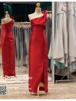 รหัส ชุดราตรียาวคนอ้วน : PK008 ชุดแซก ชุดราตรียาวมีแขน หรู สีแดง ไหล่เดียว ผ้าไหม เรียบหรู เหมาะสำหรับงานแต่งงาน งานกลางคืน กาล่าดินเนอร์