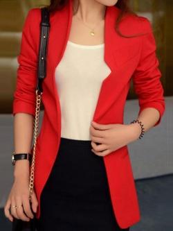เสื้อสูทผู้หญิงแฟชั่นใส่ทำงานเข้ารูป สไตล์เรียบหรู 5 size S/M/L/XL/XXL รหัส 1860-สีแดง