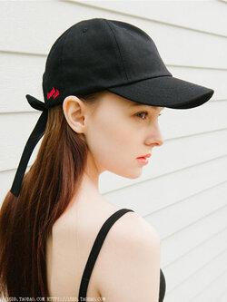หมวกแฟชั่นแนวฮิปฮอป มีสายผูกหลังหมวกสไตล์เกาหลี รหัส H004-สีดำ