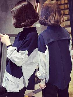 เสื้อเชิ๊ตแฟชั่นคอกลม แต่งแขนลายริ้ว สวยปนเท่ห์สไตล์เกาหลี รหัส 1472