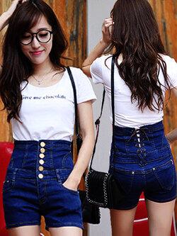 กางเกงยีนส์เอวสูง แต่งเชือกเก็บเอวด้านหลัง 3 ไซส์