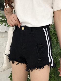 กางเกงยีนส์แฟชั่นผสมผ้าลูกฟูกแต่งขาดๆ ขาสั้นสีดำ รหัส 1609-3 size S/M/L