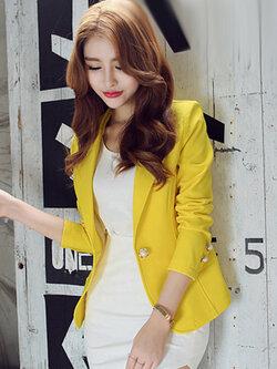 เสื้อสูทผู้หญิงสีเหลืองใส่ทำงาน สไตล์เรียบหรู 5 size S/M/L/XL/2XL รหัส 1647