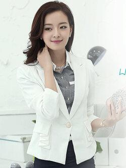 เสื้อสูทผู้หญิงสีขาวใส่ทำงาน สไตล์เรียบหรู 6 size S/M/L/XL/2XL/3XL รหัส 1820
