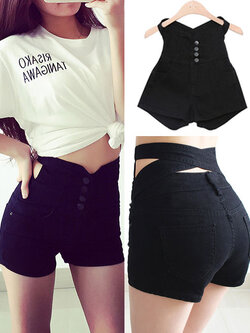 กางเกงยีนส์ผ้ารัดรูป ดีไซน์เก๋ ช่วงเอวสายไข้วด้านหลัง-สีดำ