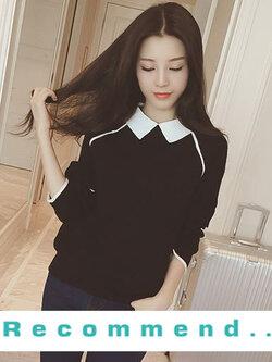 เสื้อแฟชั่น แขนยาว คอปกสีขาว แต่งเส้นขาวตามแบบ