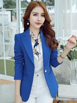 เสื้อสูทผู้หญิงแฟชั่นสีน้ำเงินใส่ทำงาน สไตล์เรียบหรู 5 size S/M/L/XL/2XL รหัส 1652