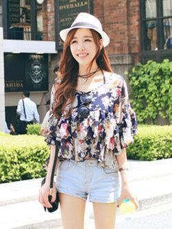 เสื้อครอปแฟชั่นลายพิมพ์ดอกไม้สวยหวานสไตล์เกาหลี รหัส 1660-สีกรมท่า
