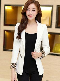เสื้อสูทแฟชั่นผู้หญิงสีขาวใส่ทำงาน สไตล์เรียบหรูปลายแขนแต่งลายเสื้อ 4 ไซส์ S/M/L/XL รหัส 1646