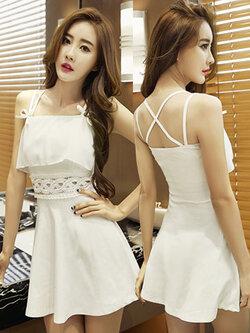 ชุดเดรสแฟชั่น สายเดี่ยวแต่งไขว้หลัง สวยหวาน น่ารักสไตล์เกาหลี-1485-สีขาว