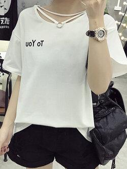 เสื้อครอปแฟชั่นสกรีนหน้าอกขวาTo youแต่งสายห้อยคอน่ารักสไตล์เกาหลี รหัส 1604