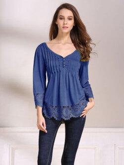 เสื้อลูกไม้แฟชั่น-1800-สีน้ำเงิน