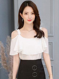 เสื้อแฟชั่น สายเดี่ยวแต่งอกระบายสวยหวานสไตล์เกาหลี รหัส 1856-สีขาว