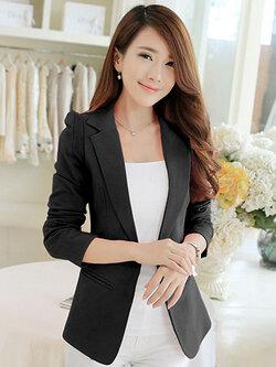 เสื้อสูทผู้หญิงแฟชั่นสีดำใส่ทำงาน สไตล์เรียบหรู 5 size S/M/L/XL/2XL รหัส 1713