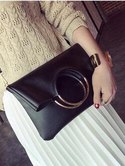 กระเป๋าแฟชั่นทรงเหลี่ยมแต่งที่หิ้วเป็นห่วงทองสวยหรูสไตล์เกาหลี รหัส B027