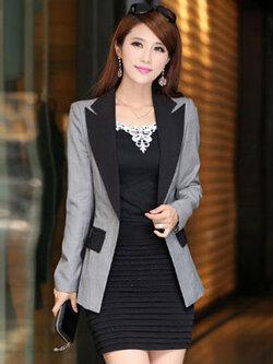 เสื้อสูทผู้หญิงแฟชั่นสีเทาแต่งปกสีดำใส่ทำงานสวยหรู 4 ไซส์ M /L /XL /2XL รหัส 1837