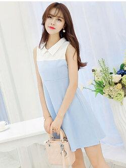 ชุดเดรสแฟชั่นสีฟ้าอ่อนคอปกสีขาว สวยน่ารักสไตล์เกาหลี รหัส 1644