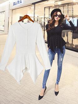 เสื้อยืดแฟชั่นไหมพรมคอกลม แขนยาว แบบสวยสไตล์เกาหลี-2 สี ดำ/ขาว รหัส 1535