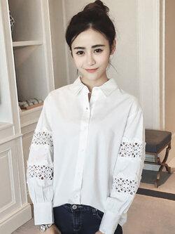 เสื้อเชื๊ตแฟชั่นคอปกสีขาวต่อแขนผ้าลูกไม้สวยหวานสไตล์เกาหลี รหัส 1711