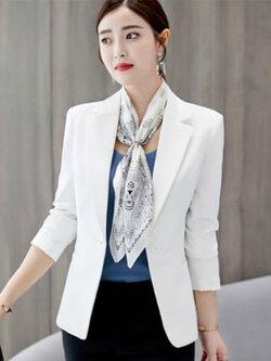เสื้อสูทผู้หญิงแฟชั่นสีขาวใส่ทำงาน สไตล์เรียบหรู 5 size S/M/L/XL/2XL รหัส 1862