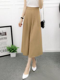 กางเกงแฟชั่น 5 ส่วนเอวยางยืดขาบานพริ้วสวยหวานสไตล์เกาหลี รหัส 1657-สีกากี