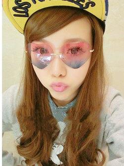 แว่นตาแฟชั่นกันแดด ทรงหัวใจสุดน่ารักสไตล์เกาหลี รหัส G-004-ชมพูฟ้า
