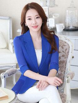 เสื้อสูทผู้หญิงสีน้ำเงินแต่งแขนและชายระบายชีฟองสไตล์สวยหรูมี 5 ไซส S/M/L/XL/2XL รหัส 1804