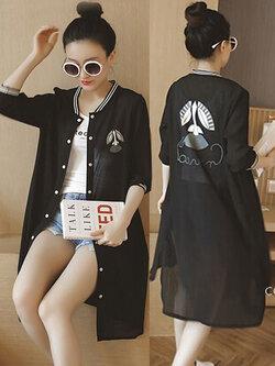 เสื้อคลุมแฟชั่นสีดำ ลายปริ้นท์น่ารักสไตล์เกาหลี รหัส 1601