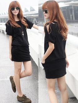 ชุดเดรสแขนสั้นทรงสวม เอวยางยืด สีดำ Dress basic style.