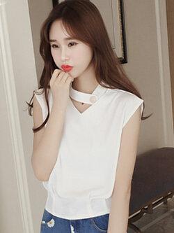 เสื้อโชคเกอร์แฟชั่นแขนกุดสีขาว แบบน่ารักสไตล์เกาหลี รหัส 1486